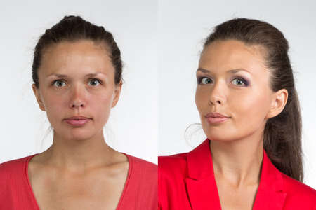 Photo pour Portrait of young woman before and after make up - isolated photo - image libre de droit