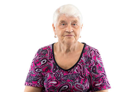 Elderly lady with white hair on white background