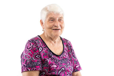Happy smiling elderly lady with white hair on white background