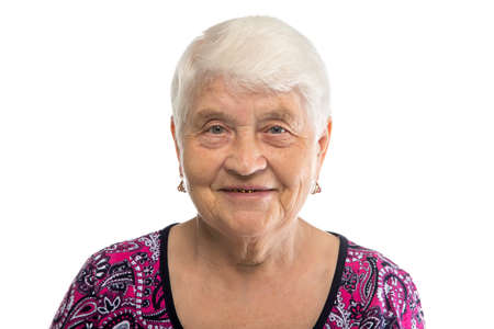Portrait of elderly lady with white hair on white background