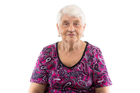 Welcoming elderly lady with white hair on white background