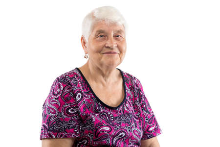 Sitting smiling elderly lady with white hair on white background