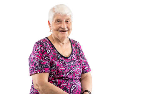 Happy laughing elderly lady with white hair on white background