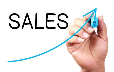 Photo pour Growth Sales drawn on transparent whiteboard. - image libre de droit
