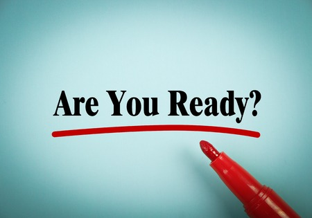 Photo pour Are You Ready text is written on blue paper with a red marker aside. - image libre de droit