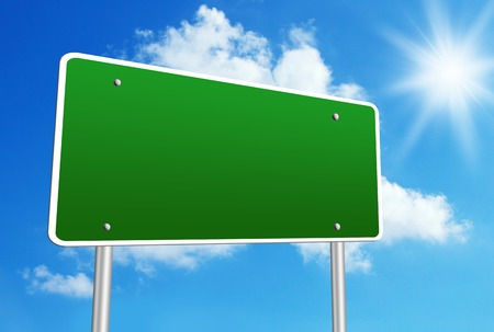 Photo for Blank road sign with blue shiny sky background. - Royalty Free Image