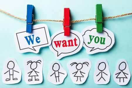 Foto für We want you paper speech bubbles with some paper person  - Lizenzfreies Bild