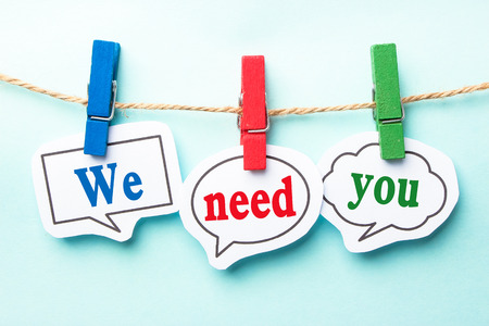 Foto für We need you concept paper speech bubbles with line on the light blue background. - Lizenzfreies Bild