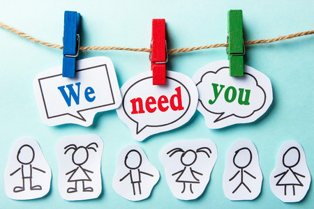 Foto für We need you paper speech bubbles with paper people - Lizenzfreies Bild