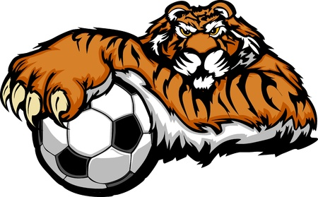 Tiger Mascot with Soccer Ball Illustration