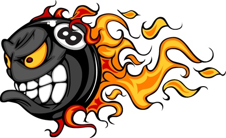 Flaming Eight Ball Face Cartoon Illustration Vector