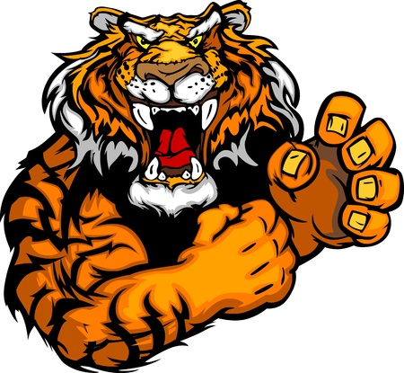 Tiger Fighting Mascot Body Vector Illustration