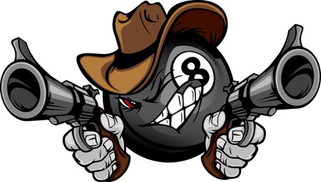 Cartoon image of a Billiards Eight ball with a face and cowboy hat holding and aiming guns