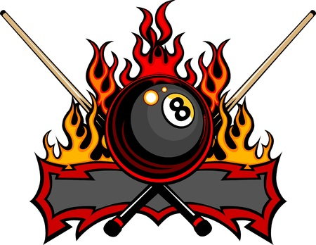 Flaming Billiards Eight Ball with cue sticks Template burning with Fire Flames