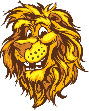 Lion Mascot with Cute Face Cartoon Vector Image