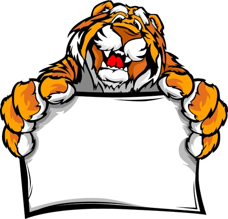 Tiger Head Smiling Mascot  Holding sign Illustration