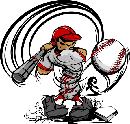 Baseball Cartoon Player with Bat and Ball Vector Illustration