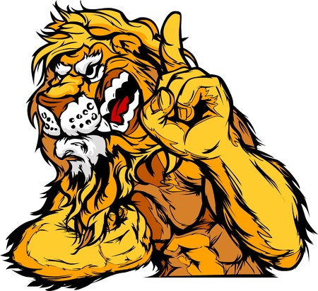Cartoon Vector Mascot Image of a Lion Flexing Arms and Holding up Champion Finger