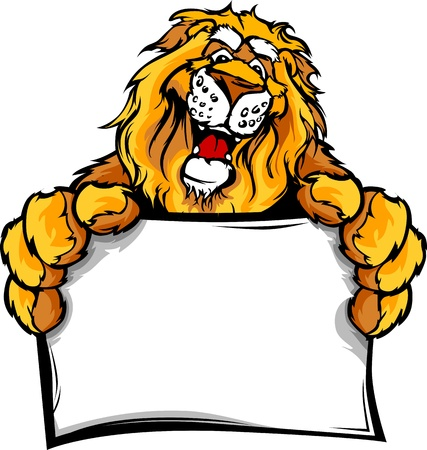 Lion Head Smiling Mascot Holding Sign Vector Illustration