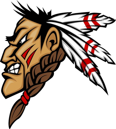 Illustration for Cartoon Native American Indian Brave Mascot with Feathers and Face Paint - Royalty Free Image