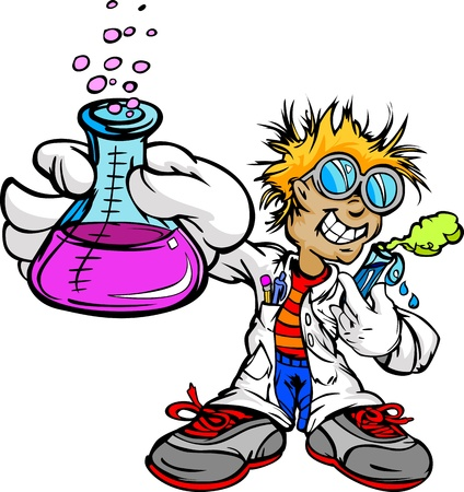 Illustration for Science Inventor Boy Cartoon Student with Lab Coat and Scientific Experiment Equipment Illustration - Royalty Free Image