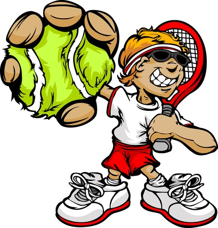 Tennis Boy Cartoon Player with Racket and Ball Vector Illustration