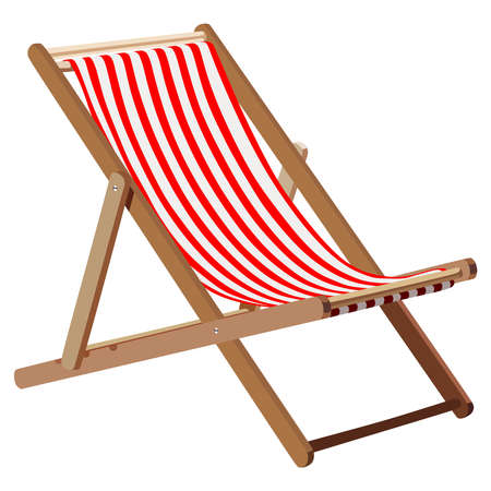 Ilustración de Wooden chaise lounge on a white background - Imagen libre de derechos