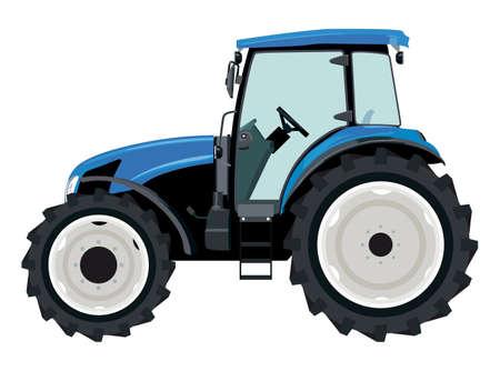 Illustration pour Blue tractor a side view on white background - image libre de droit