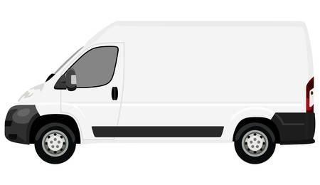 Ilustración de The front side of the light commercial vehicle on a white background - Imagen libre de derechos
