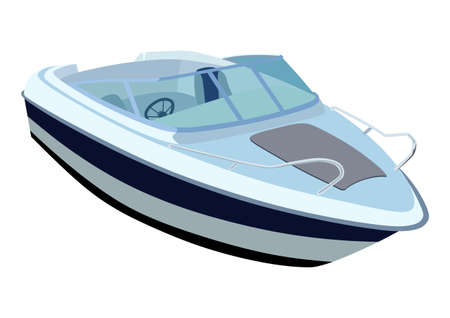 Ilustración de Blue river boat on a white background - Imagen libre de derechos