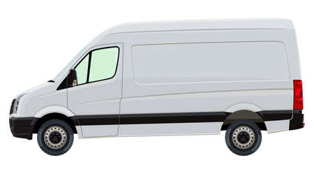 Illustration pour The front side of the light commercial vehicle on a white background - image libre de droit