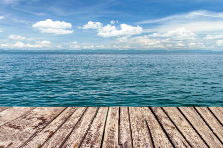 Foto de wooden walkway on sea and blue sky - Imagen libre de derechos