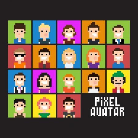 Illustration pour Set of pixel people avatar, vector illustration - image libre de droit