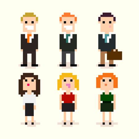 Illustration pour Set of pixel art office people in suits, vector illustration - image libre de droit
