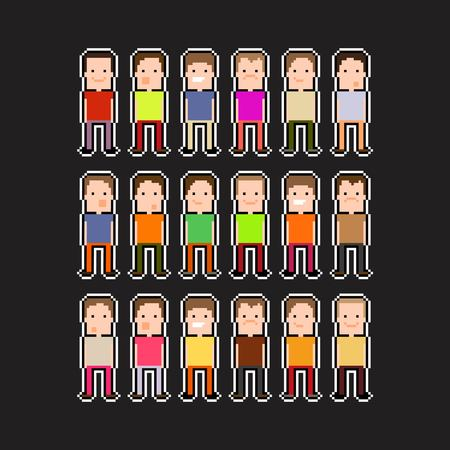 Pixel art people with black and white contour