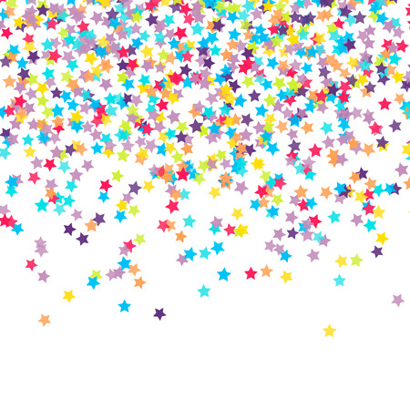 Ilustración de Abstract background with falling star-shaped confetti - Imagen libre de derechos