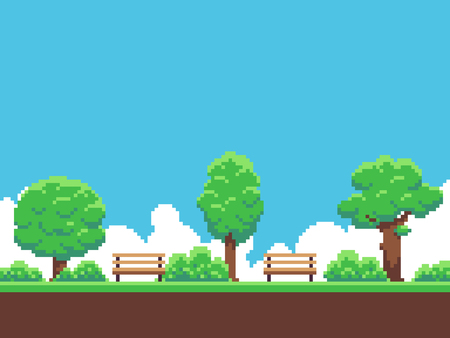 Illustration pour Pixel art game background with trees, ground, grass, sky and clouds - image libre de droit