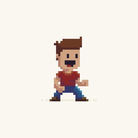 Illustration pour Pixel art male happy game character in fighter stance - image libre de droit