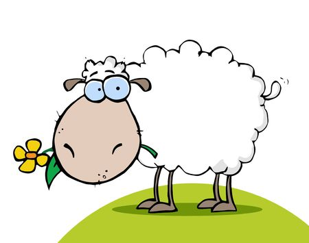 Illustration for White Sheep Eating A Flower On A Hill - Royalty Free Image