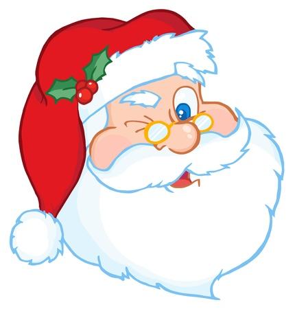 Illustration for Santa Claus Winking Classic Cartoon Head  - Royalty Free Image