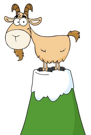 Longhorn Cartoon Character On Top Of A Mountain Peak