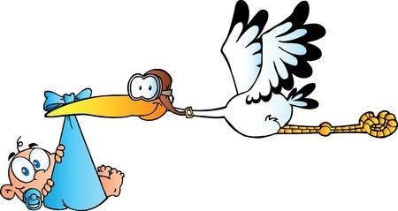 Illustration pour Stork Delivering A Newborn Baby Boy - image libre de droit