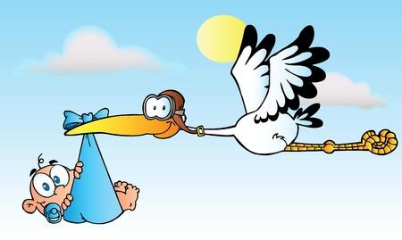 Photo pour Stork Delivering A Baby Boy - image libre de droit