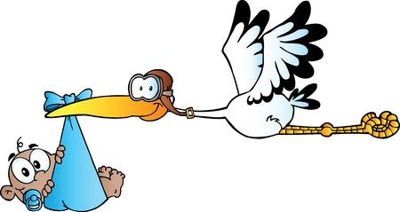 Illustration pour Happy Stork Delivering A African American Baby Boy - image libre de droit