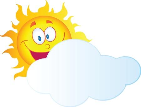 Illustration pour Happy Sun Cartoon Character Hiding Behind Cloud - image libre de droit
