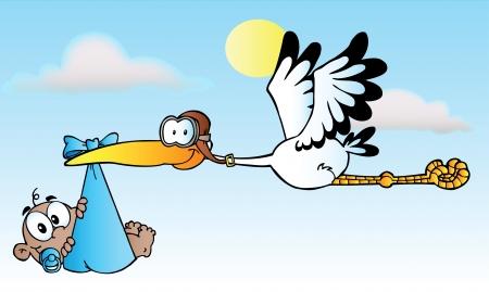 Illustration pour Stork Delivering A African American Baby Boy - image libre de droit