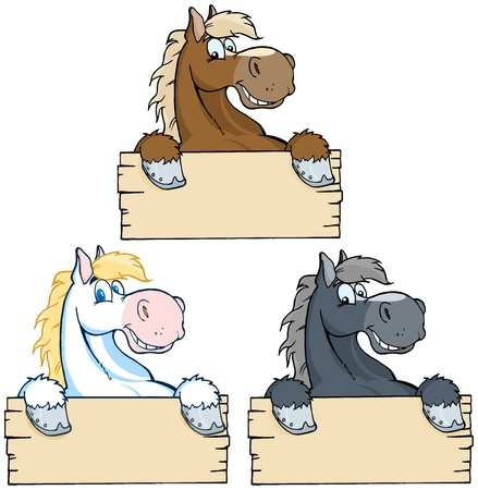 Set of Horses with Wood Sign Collection