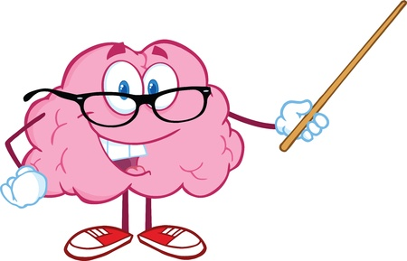 Ilustración de Smiling Brain Teacher Cartoon Character Holding A Pointer - Imagen libre de derechos
