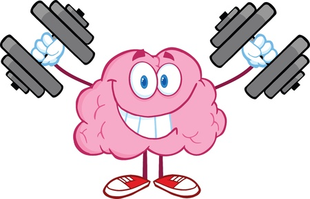 Illustration pour Smiling Brain Cartoon Character Training With Dumbbells - image libre de droit
