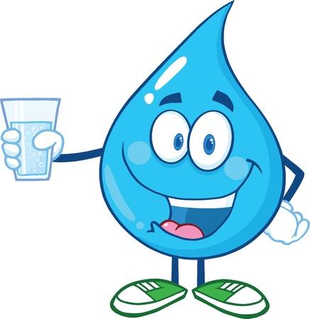 Illustration pour Water Drop Character Holding A Water Glass - image libre de droit